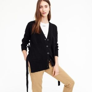 J. Crew Black Slouchy Button Front Cardigan
